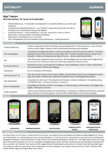 Datenblatt Garmin Edge Explore