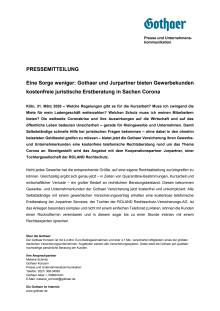 Eine Sorge weniger: Gothaer und Jurpartner bieten Gewerbekunden kostenfreie juristische Erstberatung in Sachen Corona