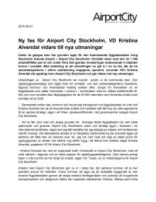 Ny fas för Airport City Stockholm, VD Kristina Alvendal vidare till nya utmaningar