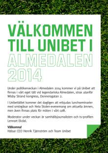 Uppdaterat program för Unibet i Almedalen