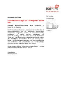 Kreiswahlvorschläge für Landtagswahl stehen fest