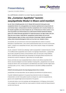 "Die ""Container-Apotheke"" kommt: easyApotheke Modul in Moers wird montiert"