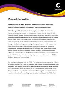 congstar und FC St. Pauli verlängern Sponsoring frühzeitig um ein Jahr