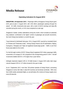 Operating Indicators for August 2015