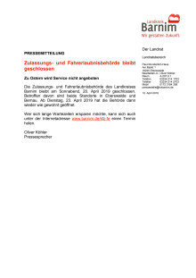 Zulassungs- und Fahrerlaubnisbehörde bleibt geschlossen