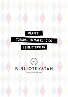 Programblad för Bibliotekstans vårfest torsdagen den 16 maj 2013 kl 17-20