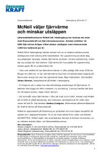 McNeil väljer fjärrvärme och minskar utsläppen
