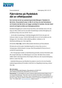 Fjärrvärme på Rydebäck del av effektpusslet
