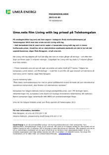 Ume.nets film Living with lag prisad på Telekomgalan