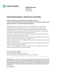 Umeå Energi deltar i Earth Hour på lördag