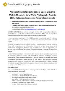 Annunciati i vincitori delle sezioni Open, Giovani e Mobile Phone dei Sony World Photography Awards 2015, il più grande concorso fotografico al mondo