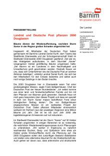Landrat und Deutsche Post pflanzen 2000 Douglasien