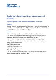 Undersökning Kränkande behandling av läkare från patienter och anhöriga