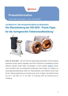 Die Überarbeitung der VDI 2035 - Praxis-Tipps für die normgerechte Teilstromaufbereitung