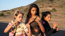 Kristen Stewart, Naomi Scott, Ella Balinska and Elizabeth Banks star in the globe-trotting action comedy Charlie's Angels