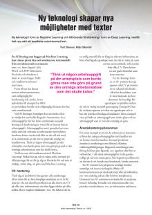 Ny teknologi skapar nya möjligheter med texter - Utdrag ur Arkiv Information Teknik, nr. 1 2019