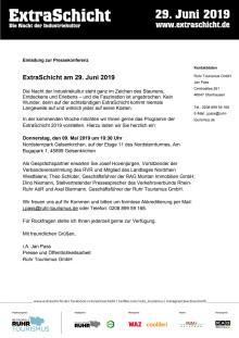 EINLADUNG: Pressekonferenz zum Programm der ExtraSchicht 2019