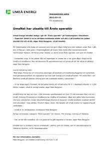 UmeNet har utsetts till Årets operatör