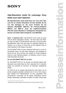 High-Resolution Audio für unterwegs: Sony bietet noch mehr Optionen