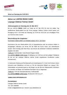 Aktionsangebot Leipziger Oldtimer Fahrten GmbH 24.05.2014