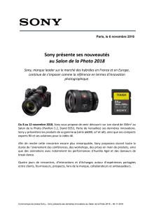 Sony présente ses nouveautés  au Salon de la Photo 2018