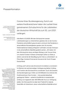 Corona-Krise: Bundesregierung, Zurich und weitere Kreditversicherer haben die Laufzeit ihres gemeinsamen Schutzschirms für die Lieferketten der deutschen Wirtschaft bis zum 30. Juni 2021 verlängert.