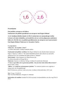 Seminarium och politisk debatt i Halmstad 25 mars