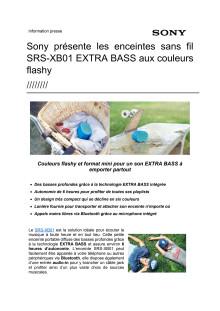 Sony présente les enceintes sans fil SRS-XB01 EXTRA BASS aux couleurs flashy