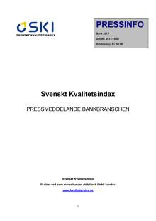Svenskt Kvalitetsindex om bankerna 2013