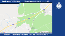 Appeal for witnesses after serious collision on the M3 northbound