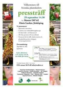Svenska Plantskolors pressträff på Elmia Garden, 29 sept kl 14.30