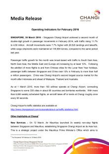 Operating Indicators for February 2016