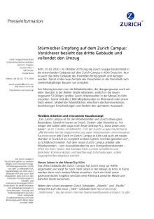 Stürmischer Empfang auf dem Zurich Campus:  Versicherer bezieht das dritte Gebäude und vollendet den Umzug