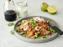 Kimchi fried oats med räkor