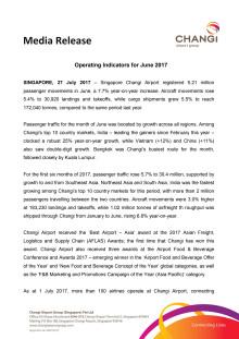 Operating Indicators for June 2017