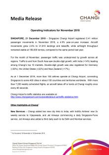 Operating Indicators for November 2018