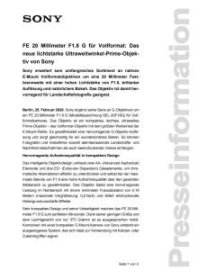 FE 20 Millimeter F1.8 G für Vollformat: Das neue lichtstarke Ultraweitwinkel-Prime-Objektiv von Sony