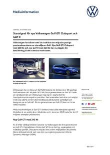 Startsignal för nya Volkswagen Golf GTI Clubsport och Golf R