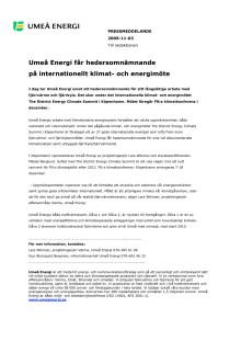 Umeå Energi får hedersomnämnande på internationellt klimat- och energimöte