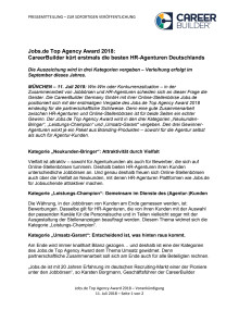 Jobs.de Top Agency Award 2018: CareerBuilder kürt erstmals die besten HR-Agenturen Deutschlands