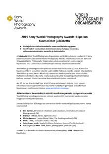 2019 Sony World Photography Awards -kilpailun tuomaristot julkistettu