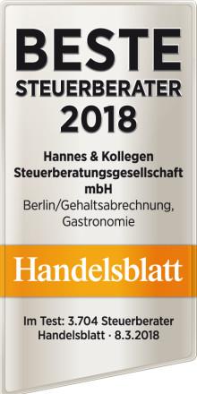 """Handelsblatt zeichnet aus: """"Beste Steuerberater 2018"""": ETL Hannes & Kollegen ist dabei!"""