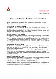 Flera världsnyheter hos Mitsubishi på Paris Motor Show