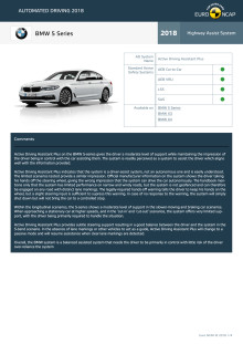 Automated Driving 2018 - BMW 5 Series datasheet - October 2018