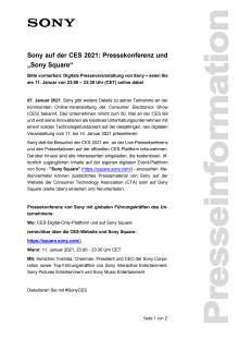 """Sony auf der CES 2021: Pressekonferenz und """"Sony Square"""""""