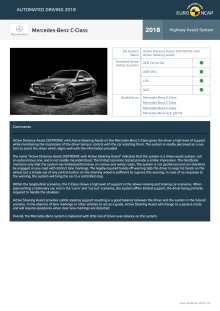 Automated Driving 2018 - Mercedes-Benz C-Class datasheet - October 2018