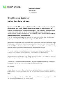 Umeå Energis ljusterapi sprids över hela världen