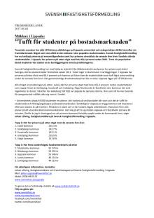 """Mäklare i Uppsala: """"Tufft för studenter på bostadsmarknaden"""""""