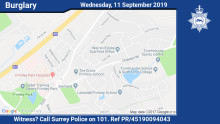 Witness appeal following burglary of ornamental sword in Frimley