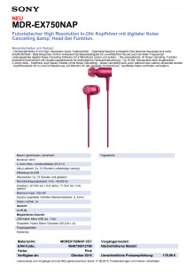 Datenblatt h.ear in von Sony_pink